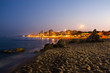 Platja d'Aro beach night photography, Catalonia, Spain.