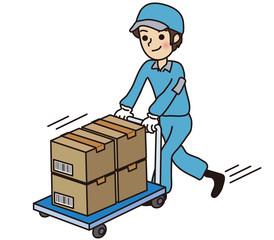 ダンボールを運搬する男性作業員