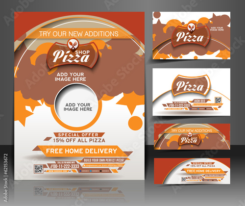 Bundle of Pizza Shop Flyer, Business Card, Header & Banner