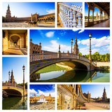 Spanish Square collage(Plaza de España), Sevilla, Spain