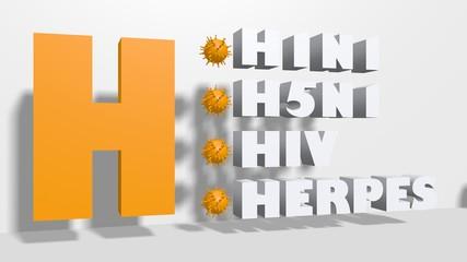 virus alphabet 3d text