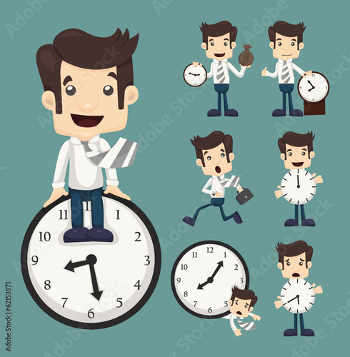 Set of businessman and clock