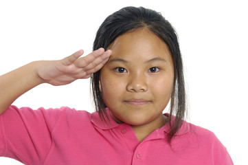 Portrait of adorable girl doing a military