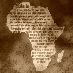 malaria text on continent silhouette