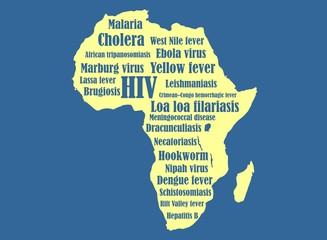 africa map silhouette with disease names