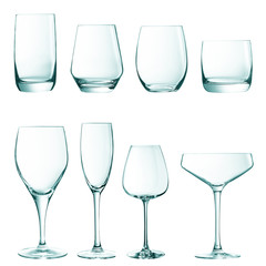 Set of empty glasses