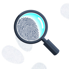 Magnifying glass with fingerprint isolated on the white