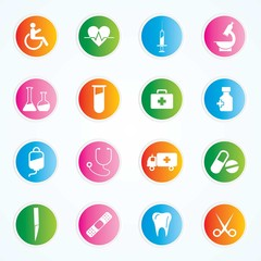 Medical Icons On Colorful Buttons Eps-10