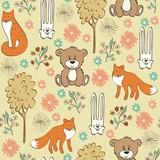 Children seamless pattern with foxes and hares