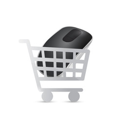 shopping cart mouse illustration design