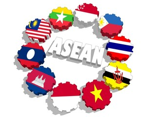 asean countries flags on gears