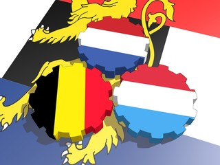 benelux countries flags on gears