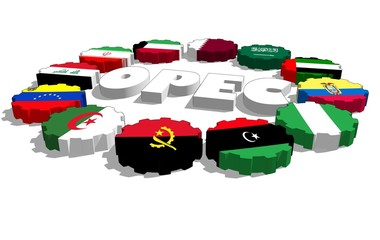opec countries flags on gears