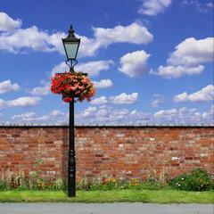 Brick Wall with Street Light