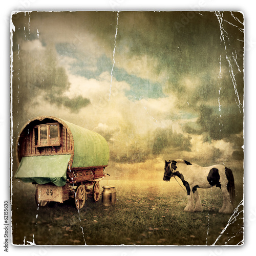 Foto op Canvas Retro Gypsy Wagon, Caravan
