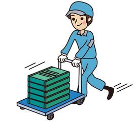 コンテナボックスを運搬する男性作業員