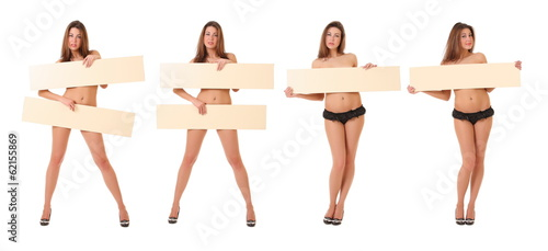 woman holding empty board