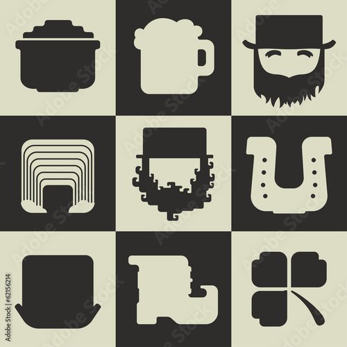 Set of black and white flat St. Patricks Day icons