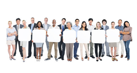 Multi-Ethnic Group Of People Holding 7 Blank Boxes