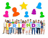 Group of Diverse Multiethnic People Holding Word Friends