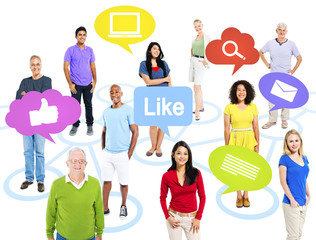 Group of Multiethnic World People with Social Media Icons