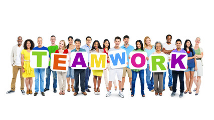 Large Group of World People Holding Word Teamwork