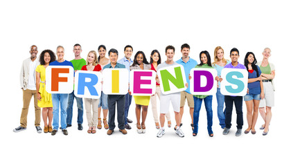 Large Group of World People Holding Word Friends