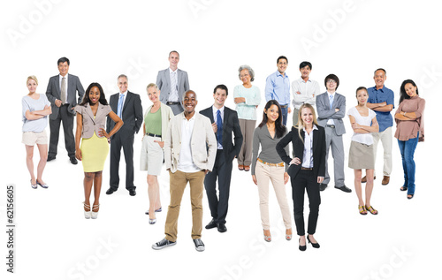Group of Multiethnic World Business People on White Background