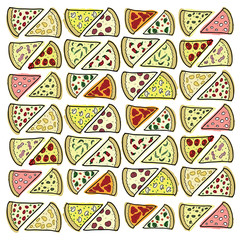 Pieces of different pizza
