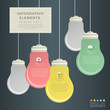 flat style abstract bulb infographics