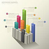 3d abstract bar chart infographics