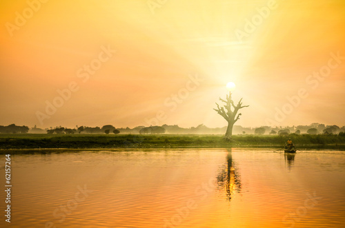 Sunset from the U-bein Bridge - Mandalay region Myanmar