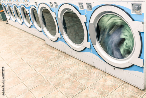 Industrial washing machines in a public Laundromat - Automatic L