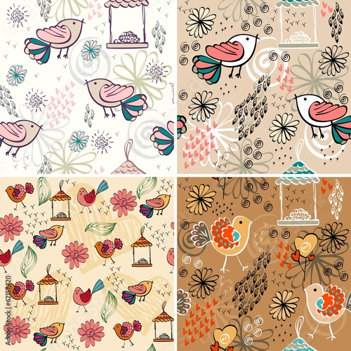 set of vector seamless pattern with  birds.