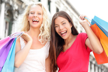 Friends shopping women excited and happy