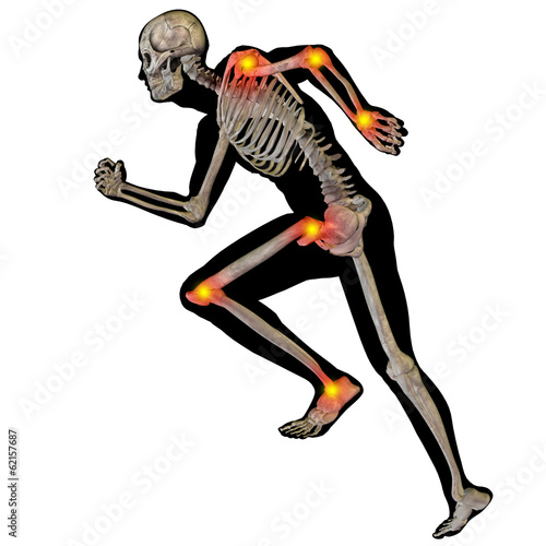 3D human man anatomy with articular pain