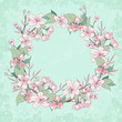 Apple blossom wreath. Beautiful spring floral background