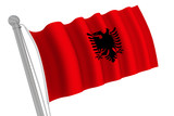Albania Flag On Pole