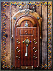 Gothic door with a mysterious key