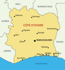 Republic of Côte d'Ivoire - vector map