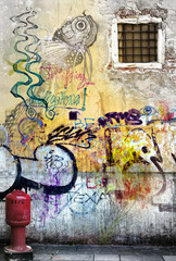 ALLEY OF SUBURBS WITH GRAFFITI