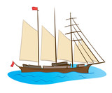 color sailing ship - vector