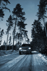 car, suv, driving on narrow snowy road, trees and forest