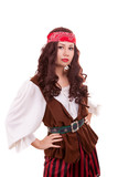 Beautiful pirate woman on white background