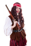 Pirate gilr with gun on white background