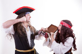 Two pirates fighting for box of tresure poster