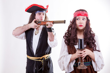 Pirate on white background