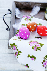 Easter eggs on an old tray