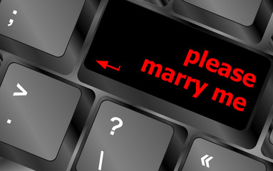 button keypad keyboard key with please marry me words