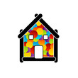 Real estate logo- house with colorful dots